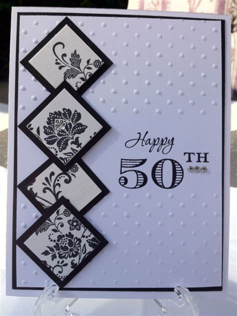 Handmade 50th Birthday Cards - and 50th birthday handmade card black white