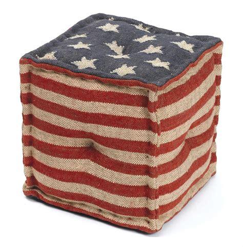 flag ottoman star spangled american flag kilim cube ottoman kathy kuo
