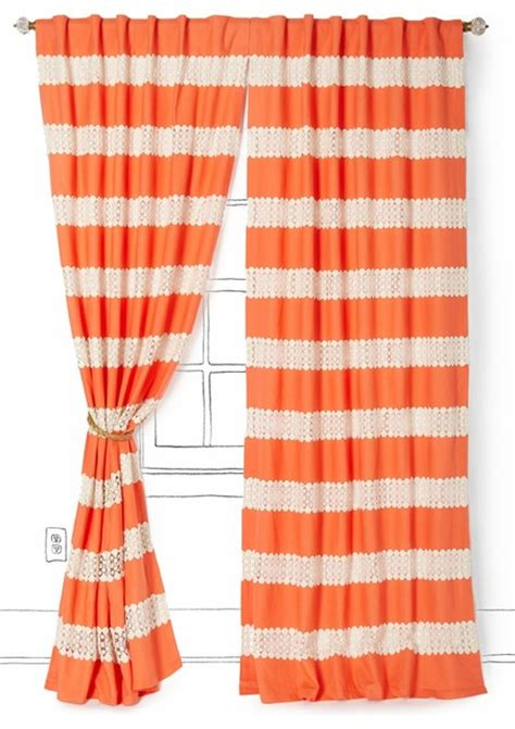 coral orange curtains crochet spliced curtain coral contemporary curtains