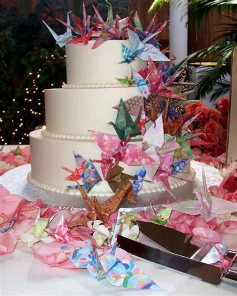 Origami Wedding Cake - unique three tier white japanese style wedding cake