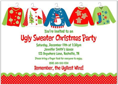 tacky ugly christmas holiday sweater party invite design