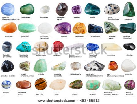 collection various tumbled gemstones names isolated stock