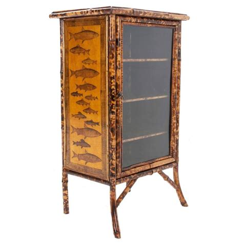 Decoupage Cabinet - fish decoupage bamboo cabinet at 1stdibs