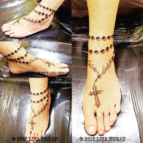 18 blessed cross amp rosary ankle tattoos