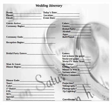 wedding ceremony itinerary template 44 wedding itinerary templates doc pdf psd free