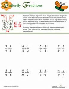 butterfly method for fractions worksheet education com