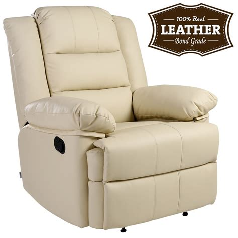 leather reclining armchairs loxley cream leather recliner armchair sofa home lounge chair reclining gaming ebay
