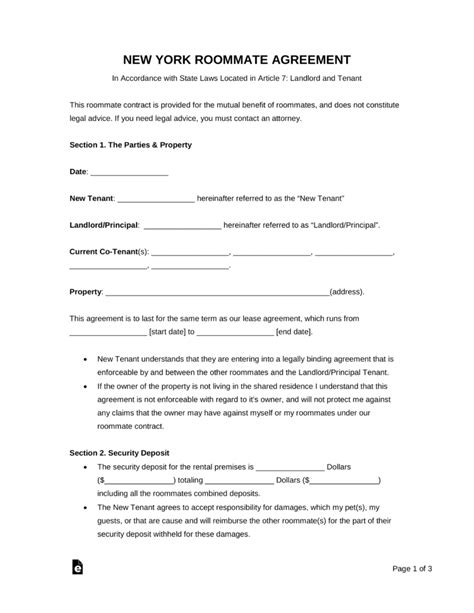 Free New York Roommate Agreement Form Pdf Word Eforms Free Fillable Forms Roommate Agreement Nyc Template