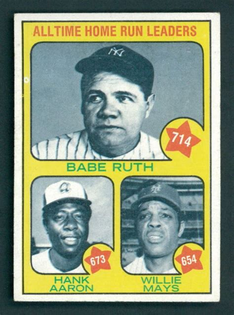 1973 topps 1 all time home run leaders ruth 714