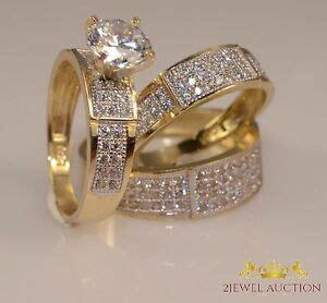 3 ct lab diamond wedding yellow gold over trio bridal band engagement ring set ebay