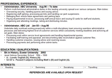 Administration CV Sample