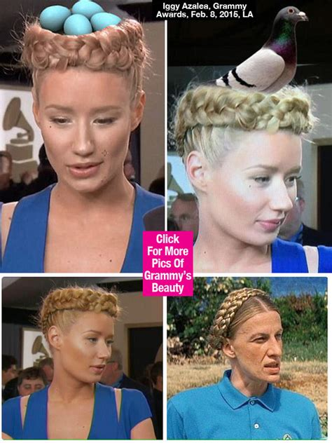 Silly Makeup At The Grammys by Pics Iggy Azalea S Grammys Hair Memes Crown Braid