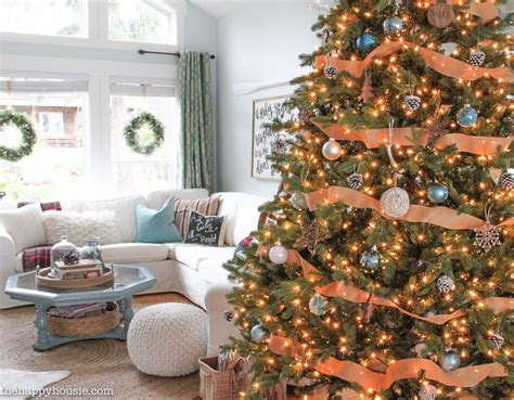 coastal xmas decor home tours our rustic blue lake cottage coastal tree decor the happy housie