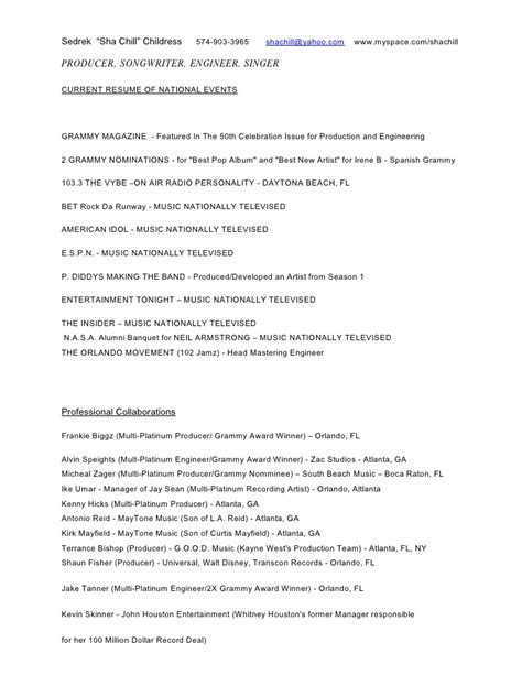 Resume Song by Production Songwriting Engineering Resume