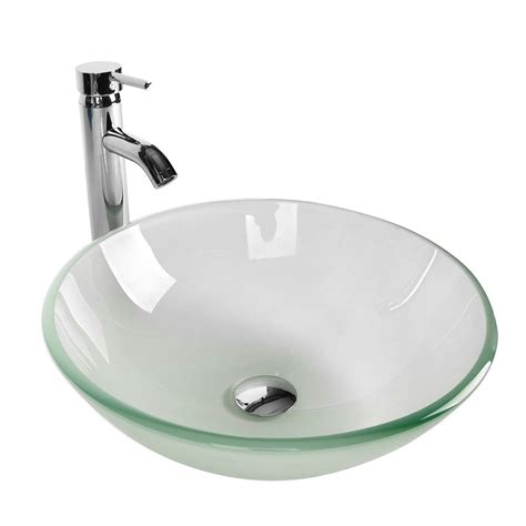 Bathroom Glass Bowl Sink by Bathroom Frosted Clear Glass Vessel Sink Bowl Chrome