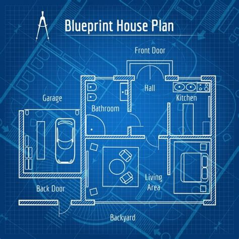 blue prints for a house blueprint house plan graphics creative market