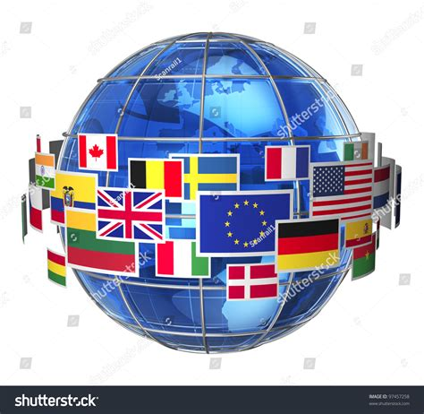 Search For Worldwide Worldwide International Communication Concept Cloud Of Colorful State Flags Around