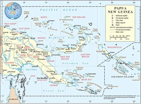 physical map of papua new guinea island papua new guinea map