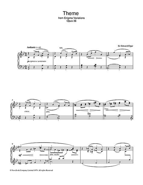 enigma film theme music edward elgar theme from enigma variations op 36 sheet music
