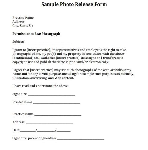 simple photo release form template simple photography release forms search engine at