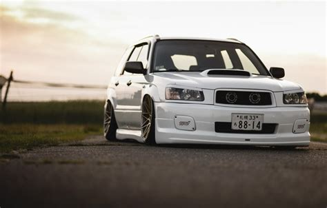subaru forester stance wallpaper tuning japan low face white sti forester