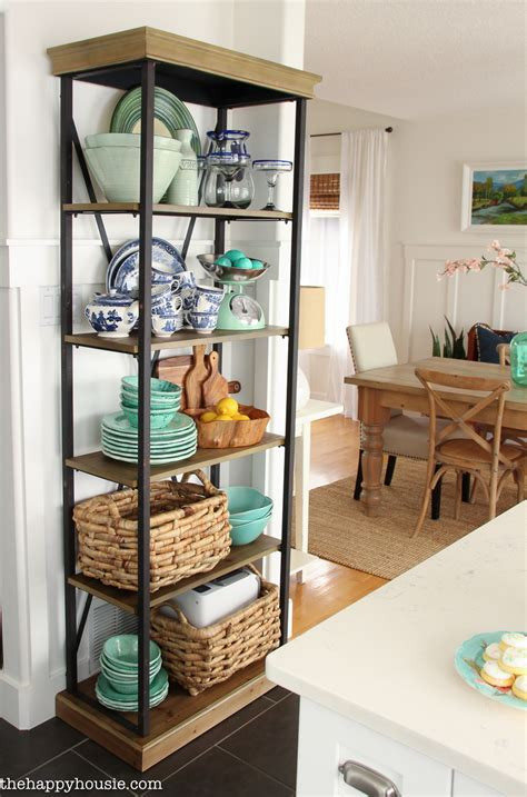 with shelves using an etagere shelf for kitchen storage display the happy housie