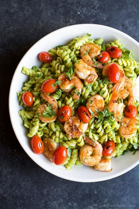 chimichurri avocado pasta with pan seared shrimp easy
