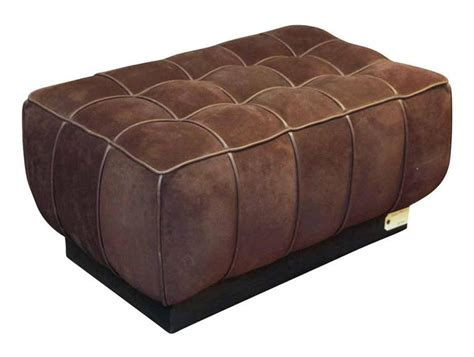 brown suede ottoman 1990s warm brown suede leather ottoman with a wooden base