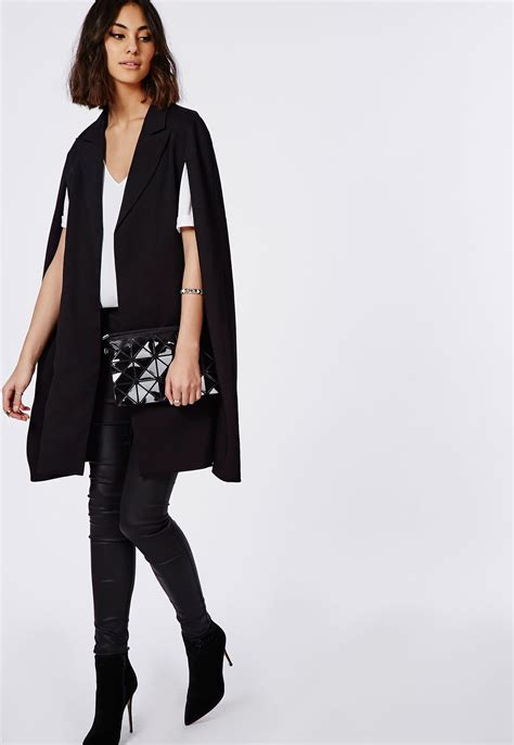 Lace Blazer Black Mc by Longline Cape Blazer Black Blazers Missguided