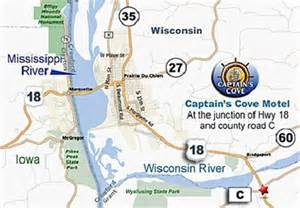 Wyalusing State Park Map by Captains Cove Motel Map Prairie Du Chien Wi