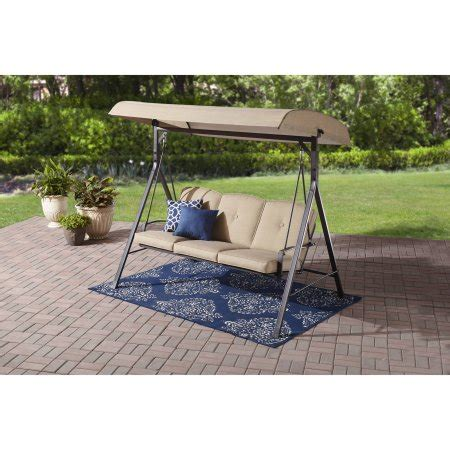 walmart 3 seater swing mainstays forest hills 3 seat cushion canopy porch swing