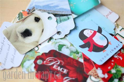 Recycling Cards - recycling cards into gift tags garden therapy