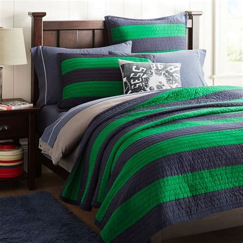 Stripe Quilt by Rugby Stripe Quilt Navy Bright Green Pbteen