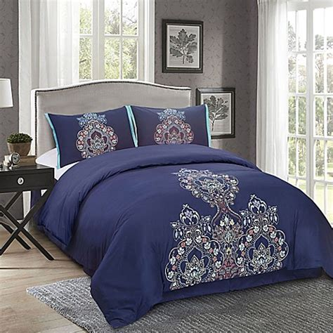 masie 4 piece comforter set in midnight blue bed bath