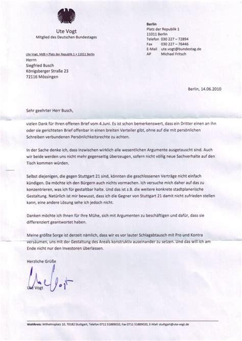 Vielen Dank Und Mit Freundlichen Grüßen Brief 12 Ute Vogt