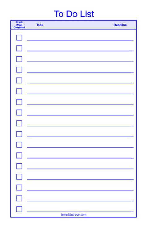 To Do Checklist Template 2 To Do List Template