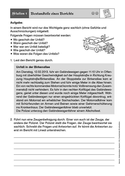 Unfallbericht Schreiben Muster Schule Bericht Arbeitsbl 228 Tter 183 Lehrerb 252 Ro