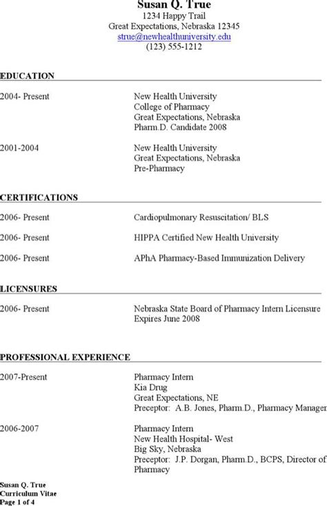 Exle Resume For Altar D State Retail Pharmacist Resume Free Premium