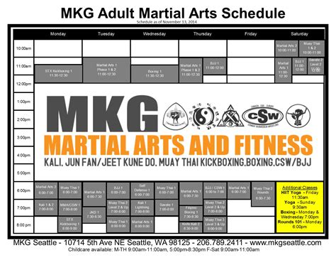 mkg seattle schedule for martial classes 206