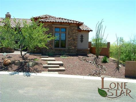 front yard xeriscape with river run and desert landscaping in scottsdale az www lonestaraz