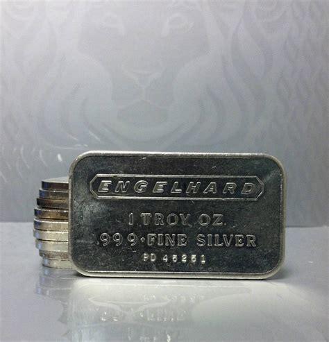 1 Troy Oz Engelhard Silver Bars - 10 x 1 troy ounce engelhard silver bullion bars 999