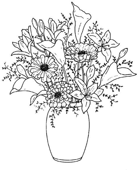 coloring pictures of flowers in a vase beautiful flower vase drawings pinterest