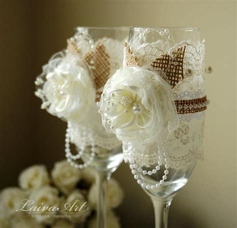 Wedding Gift Glasses by Rustic Wedding Chagne Flutes Toasting Glasses And