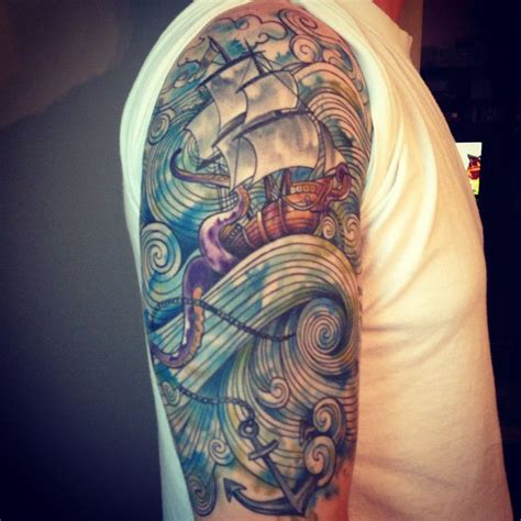 watercolor tattoo half sleeve