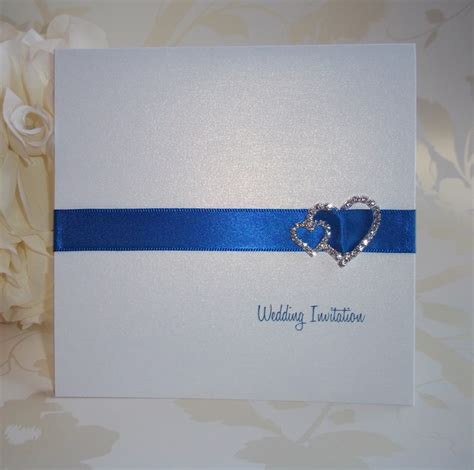 wedding invitation ribbon buckles elegance wedding invitation royal blue ribbon with
