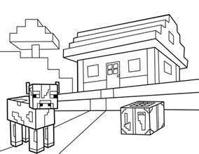 minecraft cow coloring page images