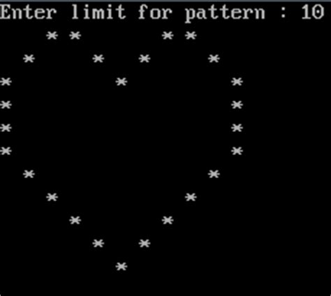 pattern type c program program to print heart pattern study material for bca