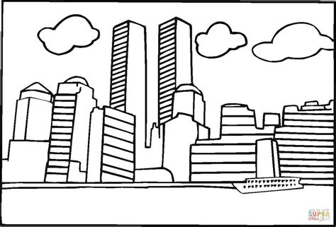 9 11 Memorial Coloring Pages by World Trade Center Before 9 11 Coloring Page Free
