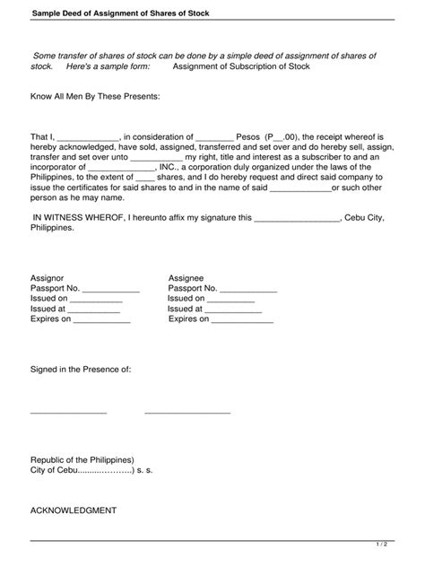 deed of ownership template sle deed of assignment of shares of stock pdf