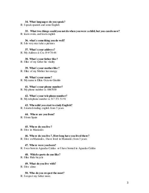 ejemplos de preguntas basicas en ingles preguntas b 193 sicas ingles